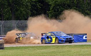 The Subaru WRX STI of Scott Speed kicks up dust in the Mid-Ohio infield on the way to a qualifying heat win at the opening round of the 2019 Americas Rallycross (ARX) championship.
