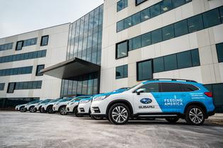 Subaru Empowers Local Meal Distribution With Loans of Eight New Vehicles to Area Food Banks. Vehicles shown ready for delivery outside of Subaru of America, Inc. Headquarters (Camden, NJ).