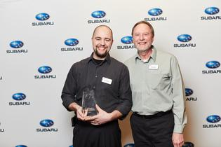 David Jodat, a Senior Master Technician at Subaru City of Milwaukee in Milwaukee, Wisconsin, pictured with his father, Brian Jodat, is named the 2019 Subaru National Technician Competition Champion.