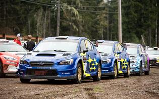 With defending champion Barry McKenna and his Ford Fiesta WRC sidelined for the event, the Olympus battle came down to the WRX STI rally cars of Pastrana, Semenuk and Ken Block.