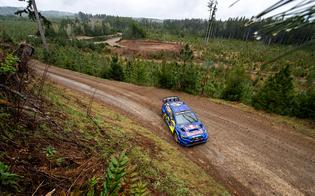 Brandon Semenuk and John Hall in the #180 Subaru Motorsports USA WRX STI rally car took three stage wins and were fighting for the lead before an off on Saturday ended their weekend.