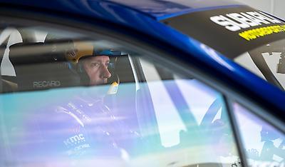 Travis Pastrana prepares for a test run in his #199 WRX STI rallycross car.