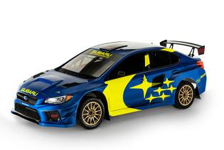 Subaru Motorsports' all-new 2019 rally and rallycross livery features a WR Blue Pearl base color with gold wheels and a prominent yellow graphics package.
