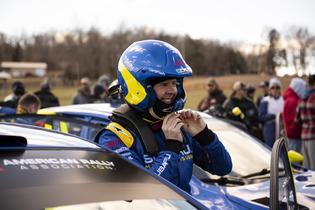 Defending ARA Champion David Higgins prepares for the start at the 2019 Rally in the 100 Acre Wood. Photo credit: Ben Haulenbeek / Subaru Motorsports USA