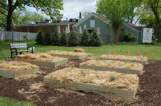 Photo of the finished Garden in front of the Magnolia Cafe & Bakery.