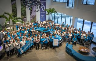 Subaru of America, Inc. employees celebrate donating a record-breaking 6,600 'KidzPacks' to Food Bank of South Jersey.