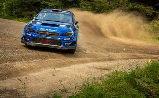 Travis Pastrana and new co-driver Rhianon Gelsomino set the pace from the rally's first stage, taking a 23-second stage win and paving the way for their first 2020 victory.