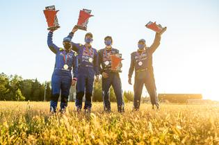 Gelsomino, Pastrana, Semenuk and Hall celebrate their first double podium as Subaru Motorsports USA teammates.