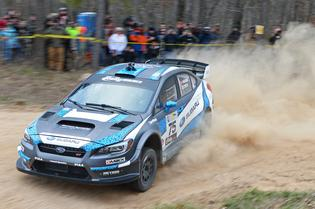 David Higgins flies through a corner during Rally in the 100 Acre Wood.