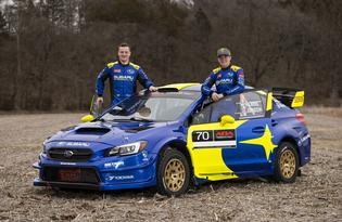 Co-driver Aaron Johnston and driver Oliver Solberg made their debut for Subaru Motorsports USA at the 2019 Rally in the 100 Acre Wood, finishing 2nd overall. Photo credit: Matthew Stryker / Subaru Motorsports USA