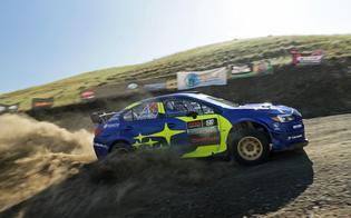Travis Pastrana and Robbie Durant navigate a tight corner in the #199 WRX STI at Oregon Trail Rally.
