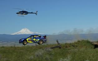 Travis Pastrana shows off his legendary motocross and rally car jumping skills, setting the longest distance of the weekend over the Boyd Loop Jump at 134 feet.
