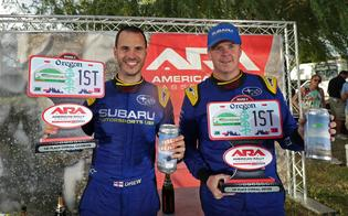 David Higgins and Craig Drew celebrate their first win of the 2019 American Rally Association season at Oregon Trail Rally.