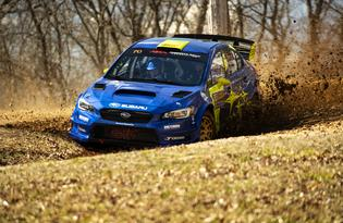 Oliver Solberg, with co-driver Aaron Johnston, showcase Subaru Motorsports USA's new 2019 blue and gold rally livery at the Rally in the 100 Acre Wood. Photo credit: Matthew Stryker / Subaru Motorsports USA