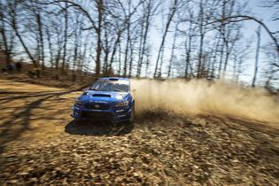 David Higgins put his Subaru WRX STI on the podium at the 2019 Rally in the 100 Acre Wood. Photo credit: Matthew Stryker / Subaru Motorsports USA