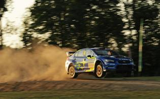 Travis Pastrana led Oregon Trail Rally after Friday night's super special stages at Portland International Raceway.