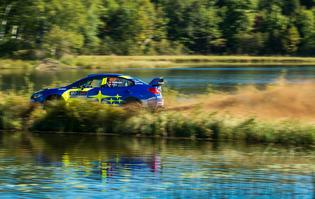 Brandon Semenuk pushes for the top of the timesheets in only his second running of Ojibwe Forests Rally.