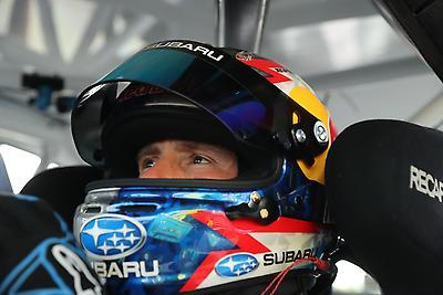 Scott Speed readies himself for launch practice in his #41 WRX STI rallycross car.