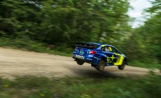 Travis Pastrana led wire-to-wire to win Minnesota's Ojibwe Forests Rally, the first victory of 2020 for Subaru Motorsports USA.