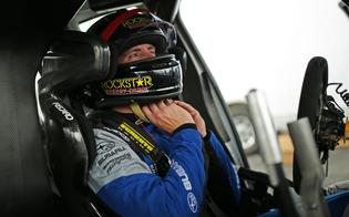Scott Speed prepares for his first test in the WRX STI VT19x development car.