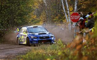 Oliver Solberg slides past a spectator zone on the way to victory in the final event of the 2019 American Rally Association calendar.