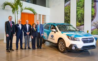 Will Shafroth (left), Matt Bershadker, Richard Davis, Ellie Hollander, and Tom Doll wrap-up the 2018 Subaru Share the Love Event with ceremony at Subaru of America, Inc. headquarters, Camden, NJ on April 3, 2019.
