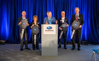 Richard Davis (left), Ellie Hollander, Tom Doll, Matt Bershadker, and Will Shafroth wrap-up the 2018 Subaru Share the Love Event with ceremony at Subaru of America, Inc. headquarters, Camden, NJ on April 3, 2019. Doll makes a surprise announcement revealing an additional donation of an all-new vehicle to each of the four national charity partners.