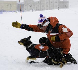 An NSP patroller works a drill with his dog at the WBR International Dog School. The Subaru National Ski Patrol Avalanche Rescue Dog Scholarship Fund was created in unison with NSP to send avalanche rescue K-9 teams to the Wasatch Backcountry Rescue's International Dog School and the Colorado Rapid Avalanche programs.