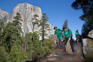A Subaru retailer team of volunteers collect trash from Yosemite National Park during the Yosemite Facelift, the largest national park clean-up event in the U.S., September 24 – 29, 2019.