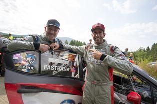 Substitute codriver Greg Dorman and Travis Pastrana at NEFR. Photo Credit: Ben Haulenbeek / Subaru Rally Team USA
