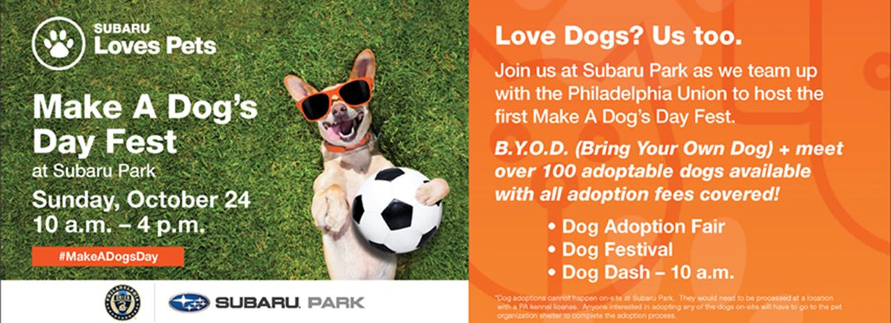 SUBARU OF AMERICA AND PHILADELPHIA UNION TO HOST FIRST-EVER MAKE A DOG'S DAY FEST AT SUBARU PARK