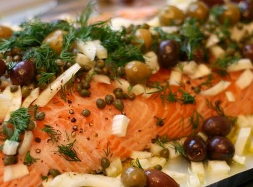 Salmon with Fennel, Olives and Dill