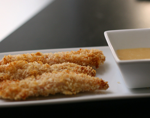 oven-baked chicken fingers with honey mustard