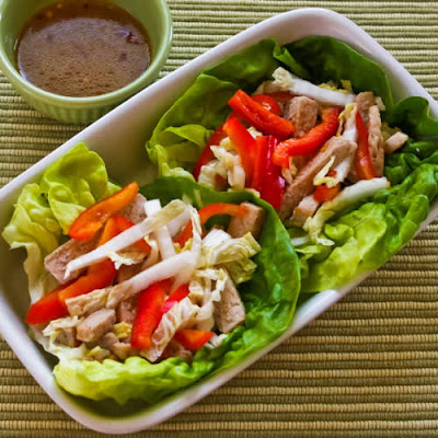 Asian Lettuce Wraps with Pork, Napa Cabbage, and Red Bell Pepper