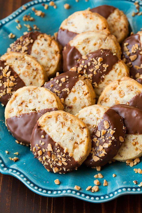 Chocolate Dipped Toffee Pecan Shortbread Cookies