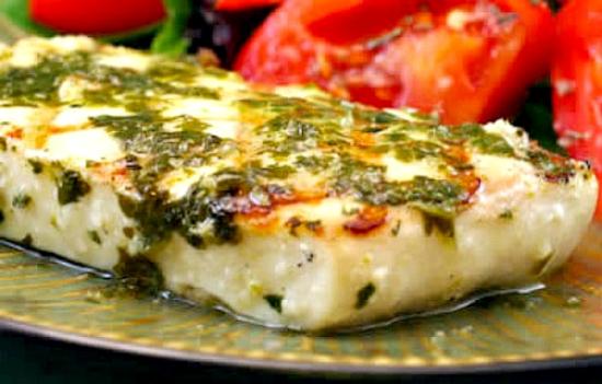 Grilled Halibut with Garlic Cilantro Sauce