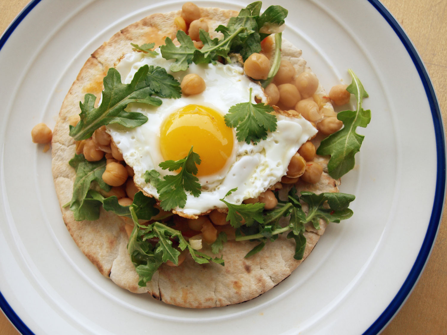 Harissa Chickpeas With Fried Eggs Recipe
