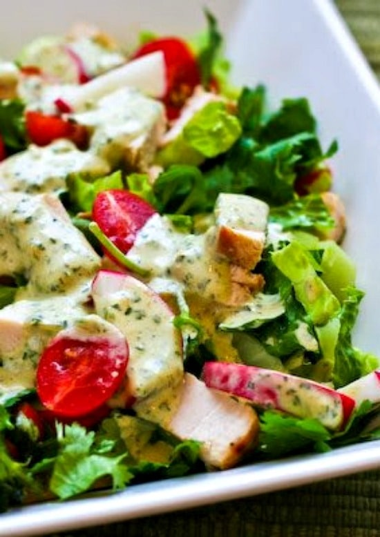 Leftover Chicken Chopped Salad with Cafe Rio Style Creamy Tomatillo Dressing