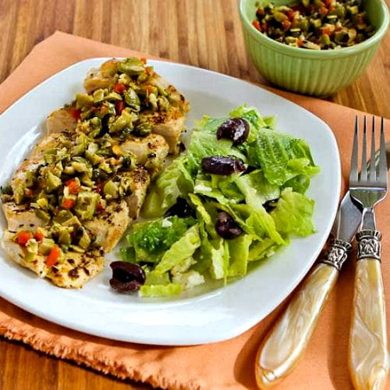 Low-Carb Pan-Grilled Chicken with Green Olive Relish