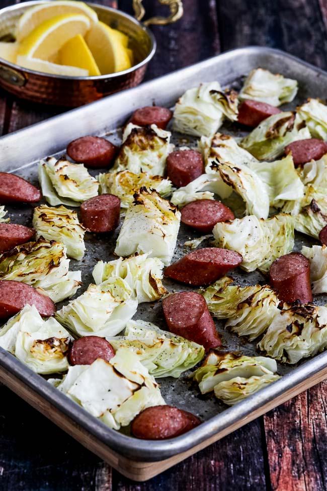 Low-Carb Roasted Lemon Cabbage and Sausage Sheet Pan Meal