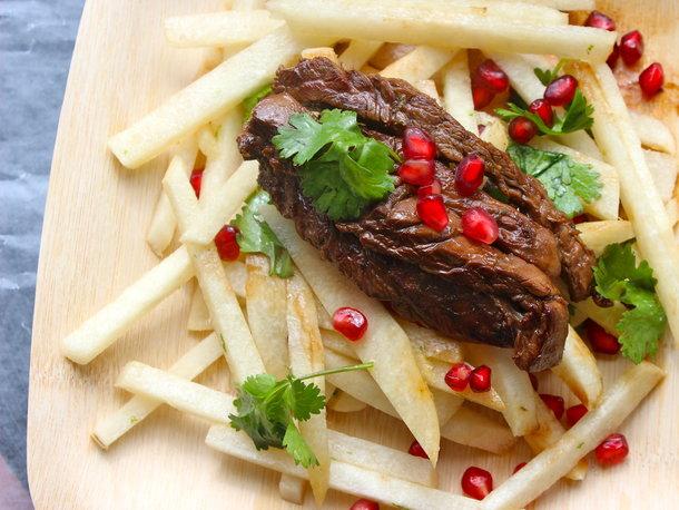 Make-Ahead Jicama Salad with Seared Steak, Pomegranate and Cilantro Recipe