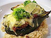 Meat Lite: Stuffed Poblanos with Tomatillo Salsa Recipe