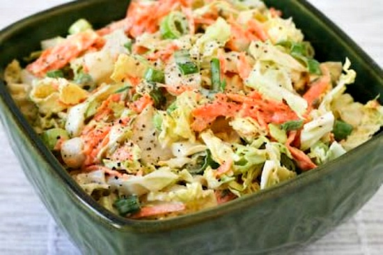 Napa Cabbage Slaw with Carrots and Fennel-Dijon Dressing