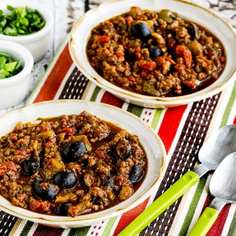 Paleo Pumpkin Chili with Beef, Peppers, and Olives
