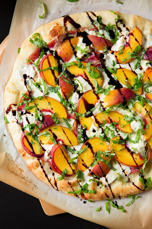 Peach & Prosciutto Pizza with Honey Balsamic Reduction