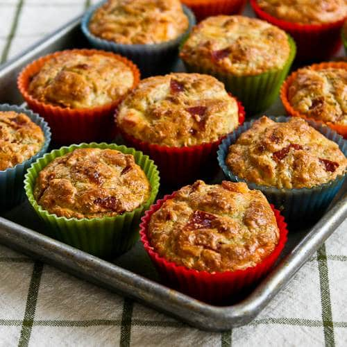 Pizza-Flavored Breakfast Muffins with Pepperoni