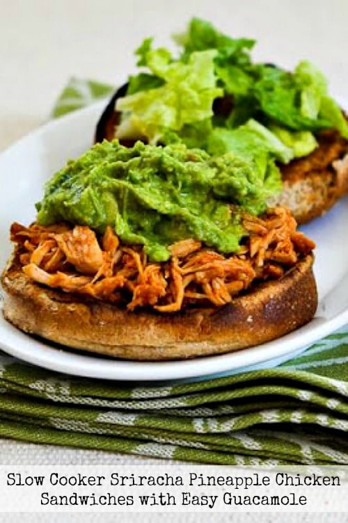 Slow Cooker Sriracha-Pineapple Barbecued Chicken Sandwiches with Easy Guacamole