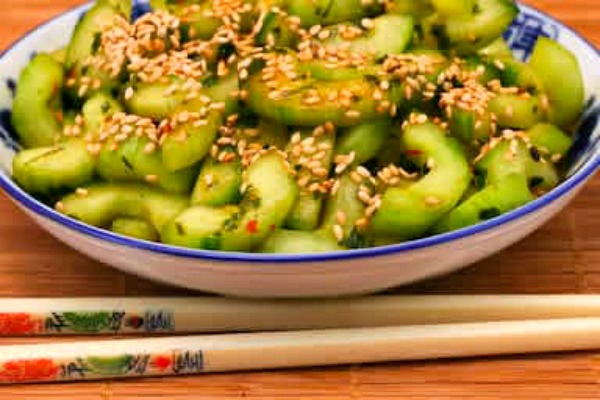 Spicy Cucumber Salad with Sesame Seeds