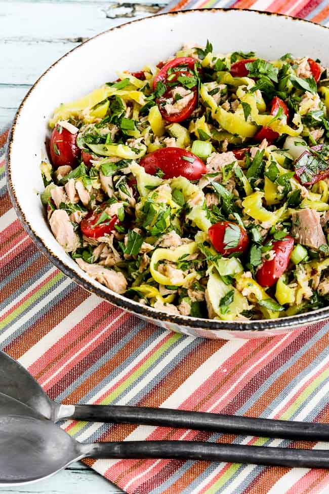 Spicy Tuna Salad with Peperoncini, Tomatoes, and Parsley