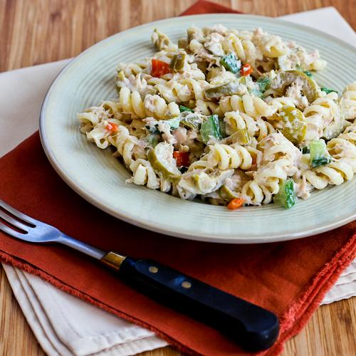Tuna Pasta Salad with Lemon, Green Olives, and Cucumbers